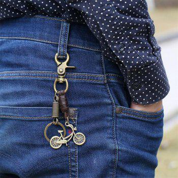 European and American Vintage Alloy Bicycle Pendant Keychain - BROWN
