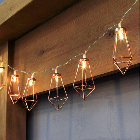 10 LED Rose Diamond Shape Fairy String Lights Battery Powered for Weeding Party - ROSE GOLD