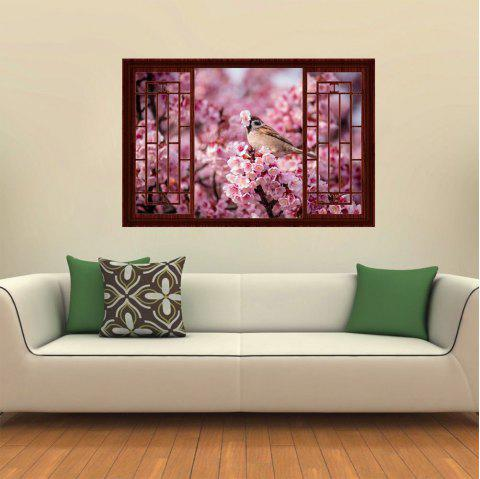 3D Wall Sticker Wood Windows Birds Plum Blossoms - multicolor A