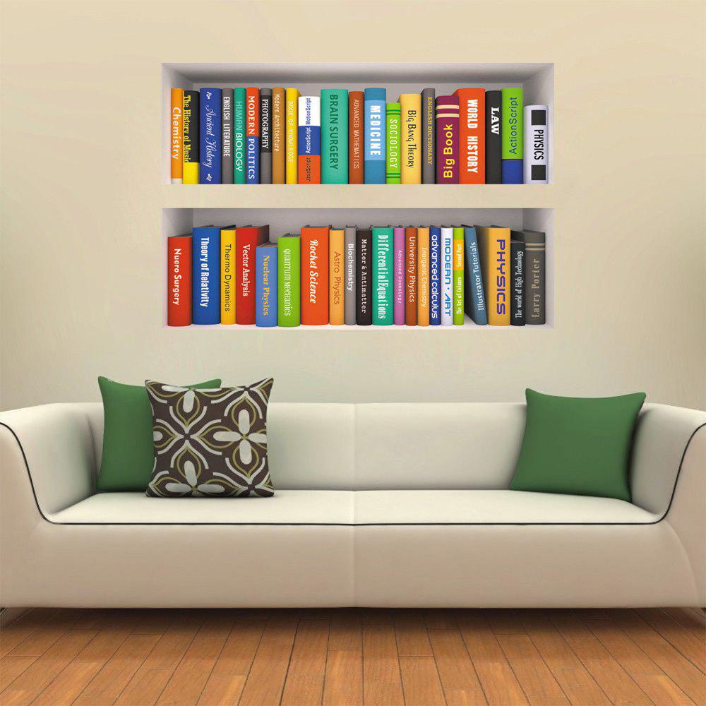 3D Creative Decoration Wallpaper Bookshelf Books - multicolor A