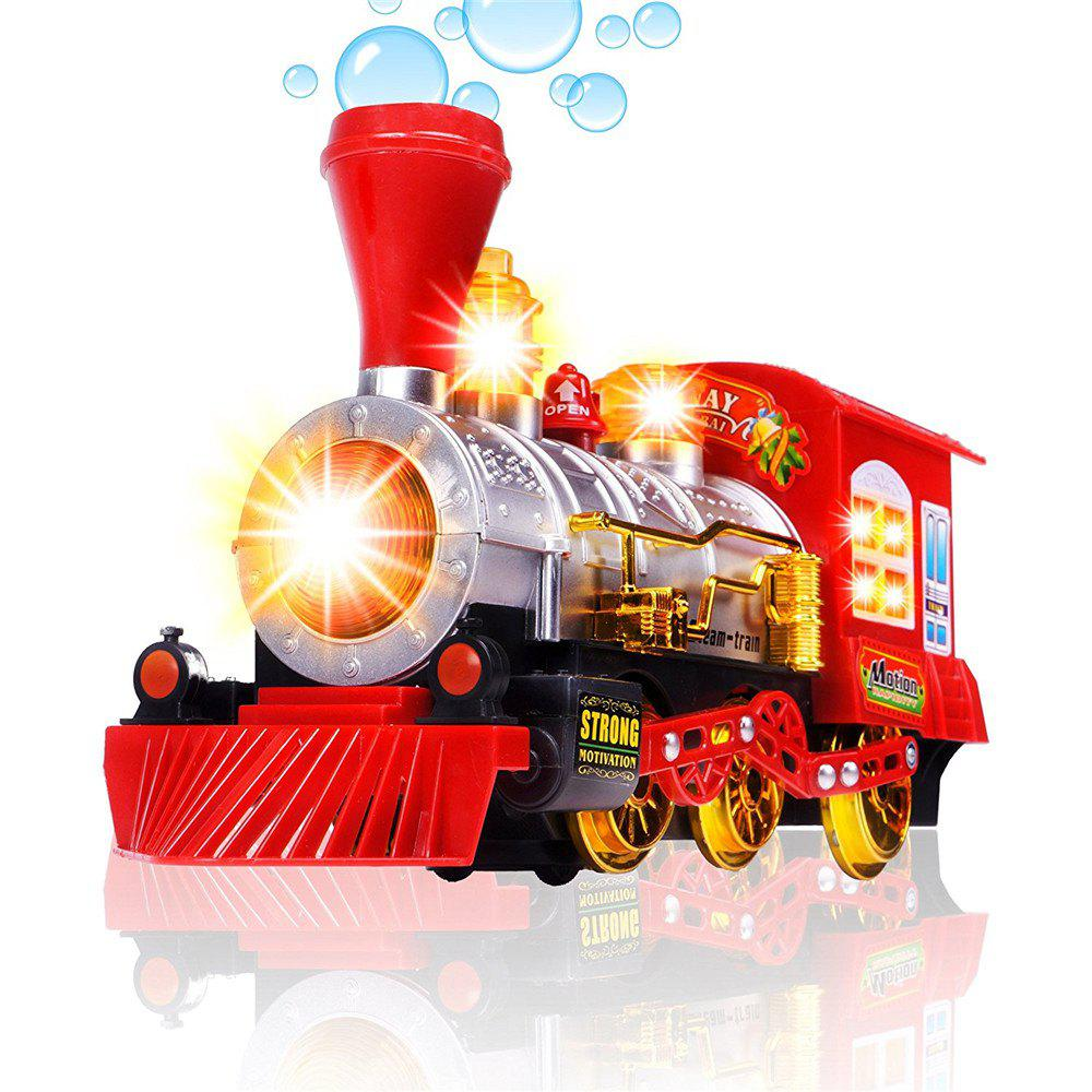 Steam Train Blowing Bubble Machine Music Light Battery Operated Liquid Kids Toy - RED