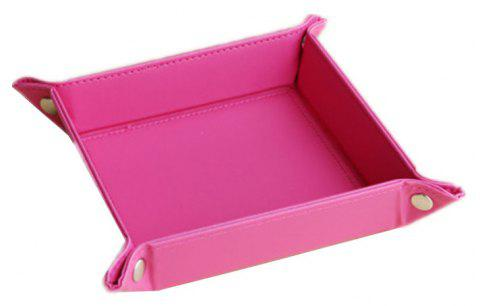 Leather Change Plate Desktop Storage Box Key Fashion Home Small Tray - ROSE RED