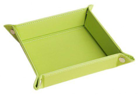 Leather Change Plate Desktop Storage Box Key Fashion Home Small Tray - PISTACHIO GREEN