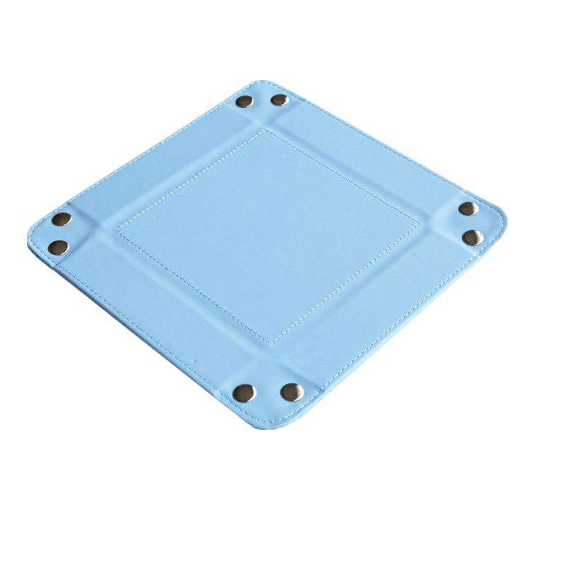 Leather Change Plate Desktop Storage Box Key Fashion Home Small Tray - LIGHT BLUE