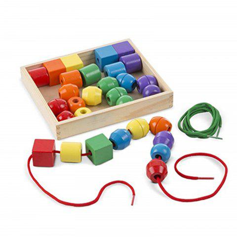 Primary Lacing Toy with 30 Beads and 2 Laces - multicolor