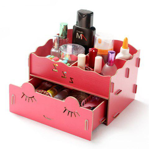 Wooden Tabletop Cosmetic Storage Box - VALENTINE RED