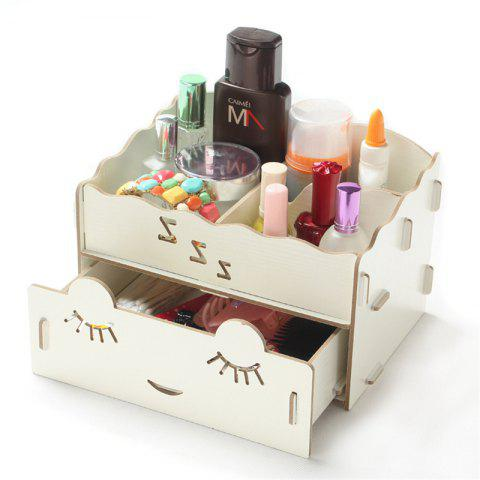 Wooden Tabletop Cosmetic Storage Box - WARM WHITE