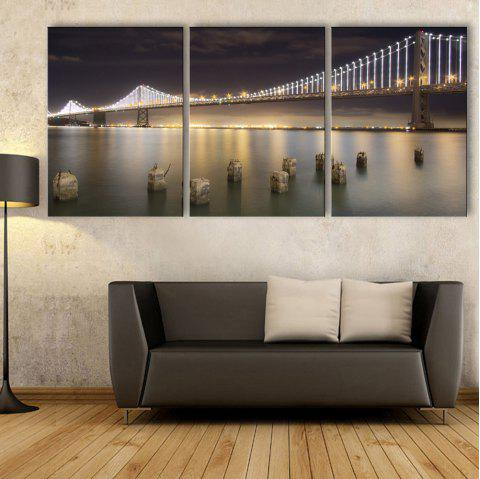Stretched Led Canvas Print Art The Bridge Flash Effect Led Flashing Optical Fibe - BLACK 20 X 14 INCH (50CM X 35CM)