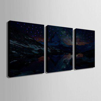 Stretched Led Canvas Print Art The Bridge Flash Effect Led Flashing Optical Fibe - BLACK 20 X 28 INCH (50CM X 70CM)