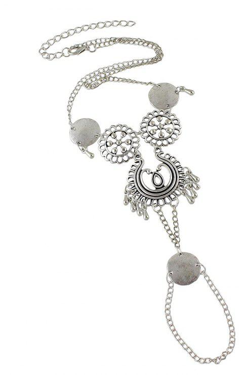 Hollow Flower Chain Anklets Beach Barefoot Sandals Foot Jewelry - SILVER