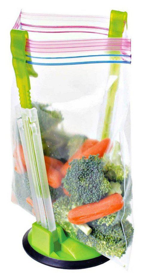 Hands Free Baggy Rack Clip Kitchen Food Drying Storage Bag Holder - GREEN