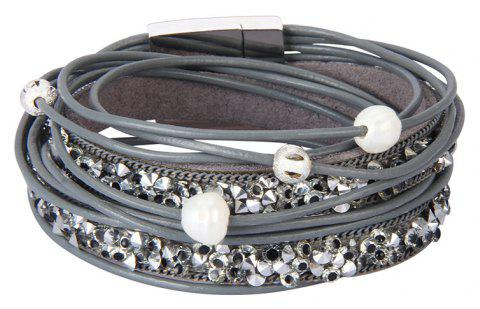 Fashion Jewelry Multi-level Leather Diamond Magnet Buckle Bracelet - GRAY