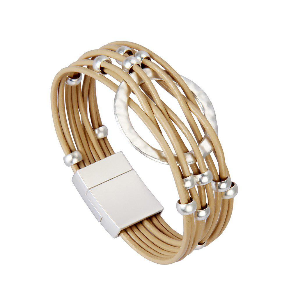 Fashion Jewelry Multi-layer Alloy Bead Magnet Buckle Bracelet - GOLD