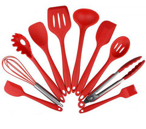 Silicone Heat Resistant Kitchen Utensils Baking Cooking Tool Sets 10PCS - RED