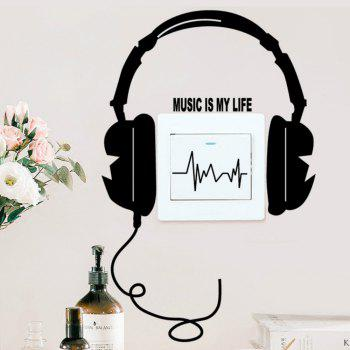 Funny DIY Headset Switch Sticker Decal Music - BLACK