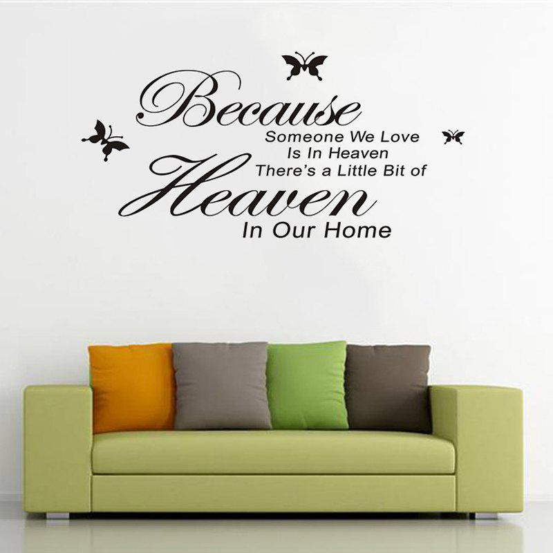 Butterfly Bouquet Someone Heaven Carved Wall Sticker - BLACK