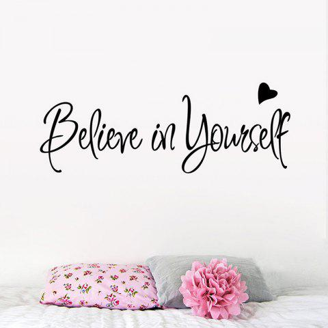 Believe on Yourself Carved Wall Stickers Living Room Bedroom Creative Wallpaper - BLACK