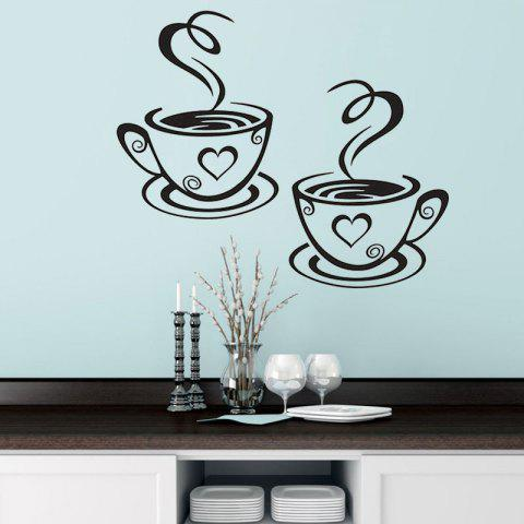 Creative Pair of Coffee Cup Wall Stickers - BLACK