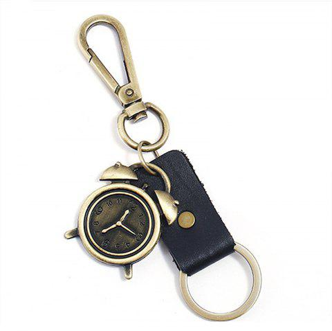 Retro Metal Alarm Clock Pendant Keychain - BLACK