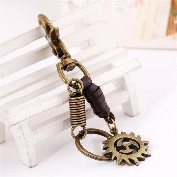 European and American Retro Leather Alloy Hot Wheels Pendant Keychain - BROWN