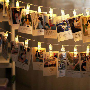 20 LED Photos Clips Fairy String Lights 3 Modes for Party Wedding Bedroom Decor - WARM WHITE