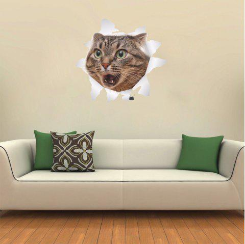 3D Wall Sticker Creative Cat - multicolor C
