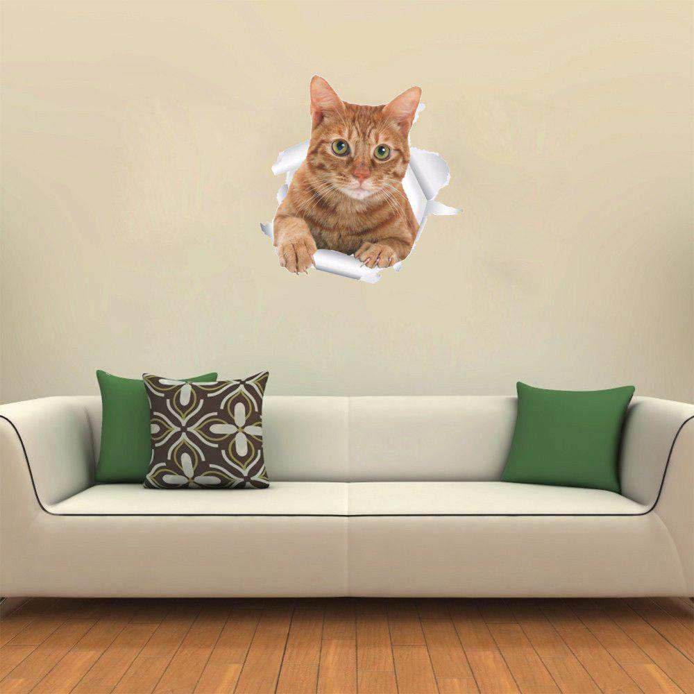 3D Wall Sticker Creative Cat - multicolor D