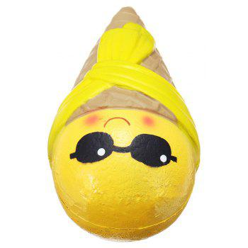 Jumbo Squishy Cute Egg Ice Cream Scented Slow Rising Squeeze Toy - YELLOW