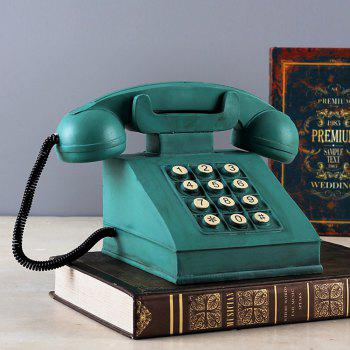 Resin Crafts Decorations Window Props Retro Phone Piggy Bank - TEAL