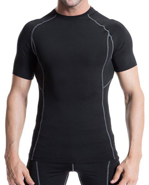 Men's Workout Athletic Compression T-shirt - BLACK XL