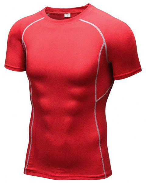 Men's Workout Athletic Compression T-shirt - RED L