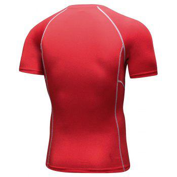Men's Workout Athletic Compression T-shirt - RED 2XL