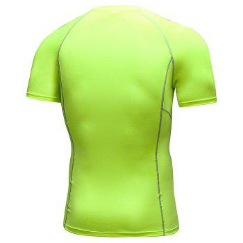Men's Workout Athletic Compression T-shirt - GREEN YELLOW M