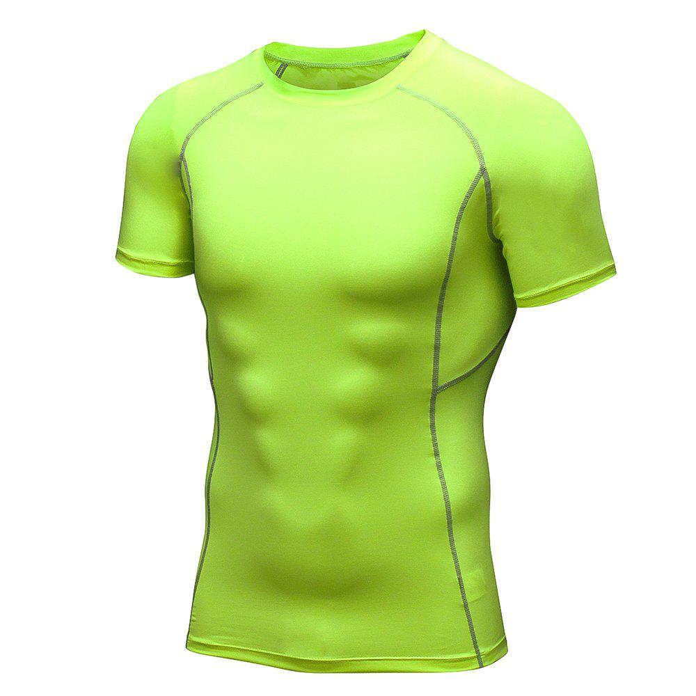 Men's Workout Athletic Compression T-shirt - GREEN YELLOW 2XL