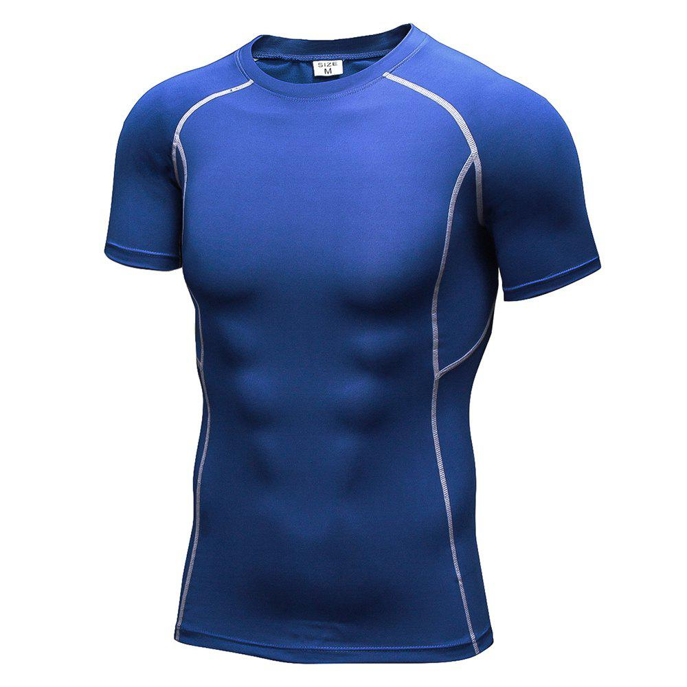 Men's Workout Athletic Compression T-shirt - BLUE XL