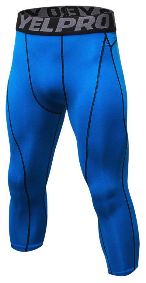 Men's Baselayer Cool Dry Sports Tights Compression 3/4 Capri Shorts - BLUE S