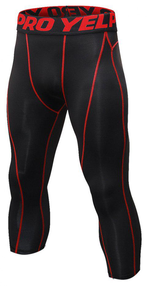 Men's Baselayer Cool Dry Sports Tights Compression 3/4 Capri Shorts - RED XL