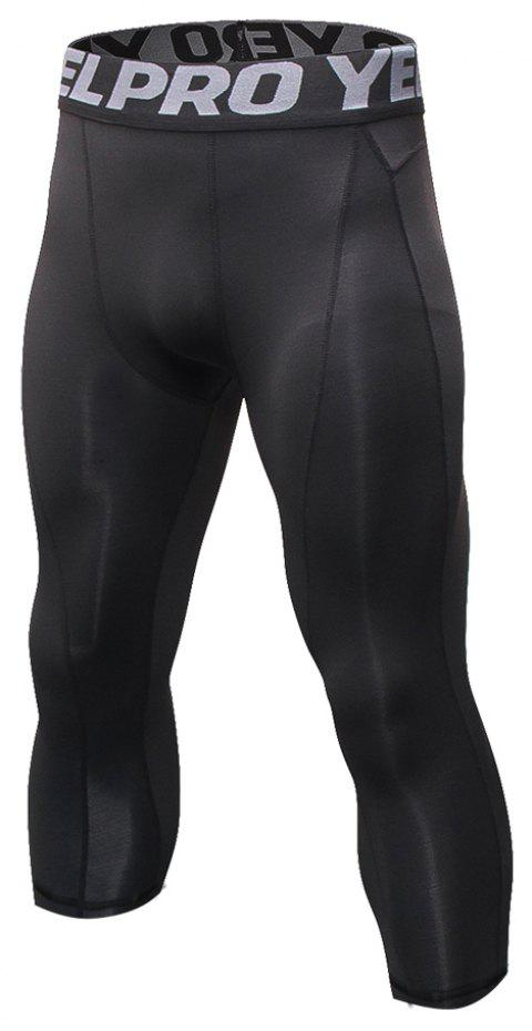 Men's Baselayer Cool Dry Sports Tights Compression 3/4 Capri Shorts - BLACK L