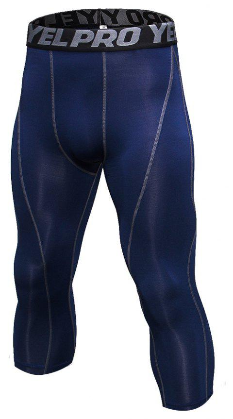 Men's Baselayer Cool Dry Sports Tights Compression 3/4 Capri Shorts - CADETBLUE L