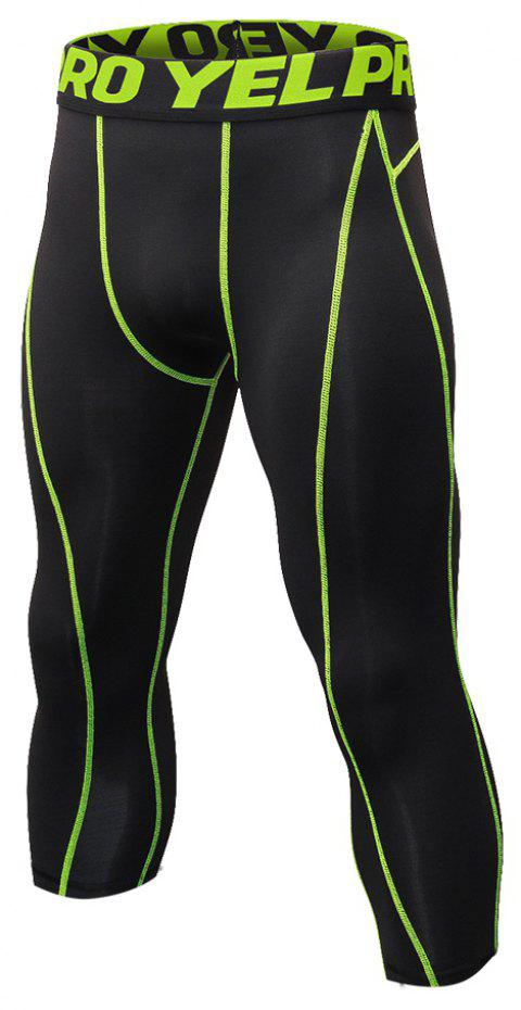 Men's Baselayer Cool Dry Sports Tights Compression 3/4 Capri Shorts - GREEN S