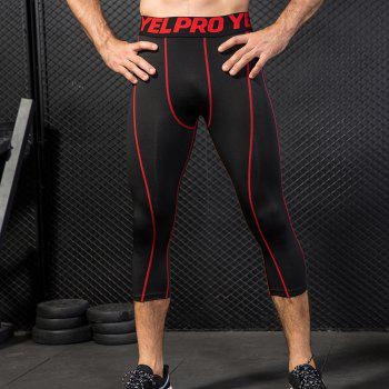 Men's Baselayer Cool Dry Sports Tights Compression 3/4 Capri Shorts - RED M