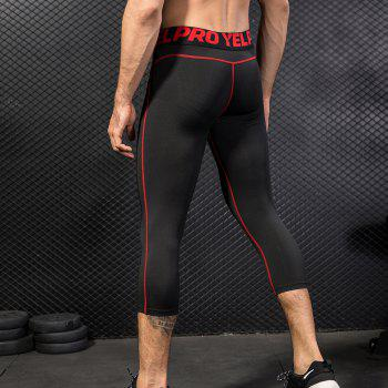 Men's Baselayer Cool Dry Sports Tights Compression 3/4 Capri Shorts - RED 2XL