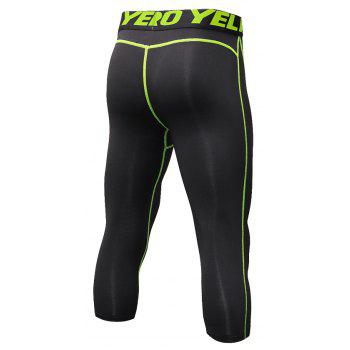 Men's Baselayer Cool Dry Sports Tights Compression 3/4 Capri Shorts - GREEN XL