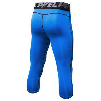 Men's Baselayer Cool Dry Sports Tights Compression 3/4 Capri Shorts - BLUE 2XL