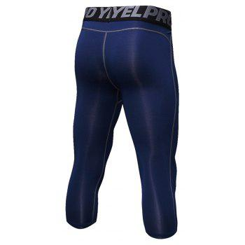 Men's Baselayer Cool Dry Sports Tights Compression 3/4 Capri Shorts - CADETBLUE M