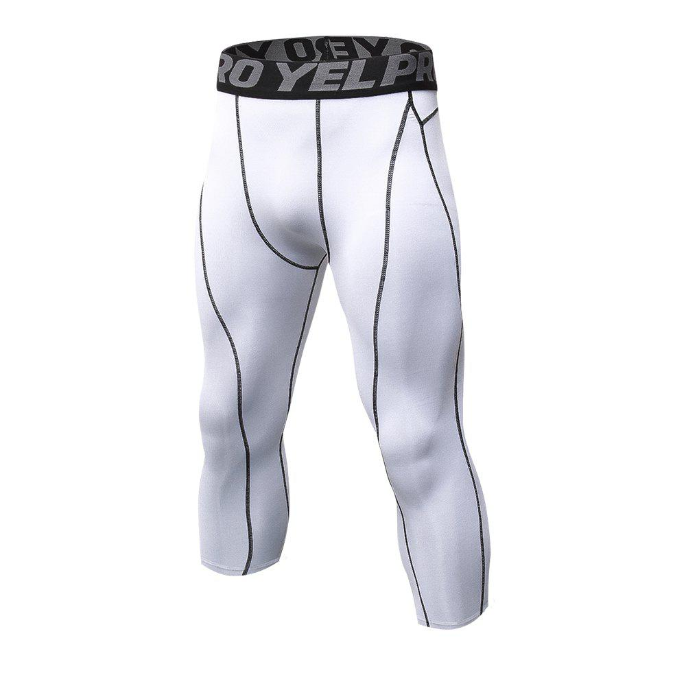 Men's Baselayer Cool Dry Sports Tights Compression 3/4 Capri Shorts - WHITE L