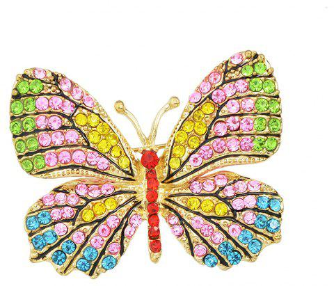 Colorful Rhinestone Lovely Butterfly Brooches - multicolor C