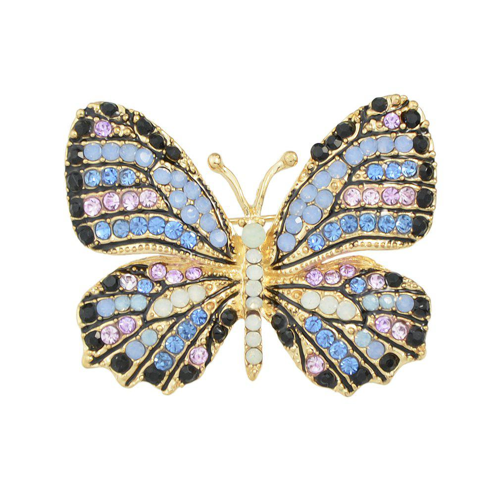 Colorful Rhinestone Lovely Butterfly Brooches - multicolor A