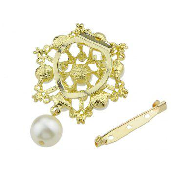 Luxury Jewelry Imitation-pearl and Rhinestone Snowflake Brooch - GOLD