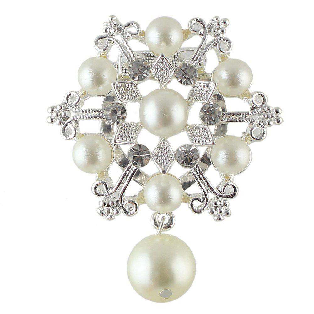 Luxury Jewelry Imitation-pearl and Rhinestone Snowflake Brooch - SILVER